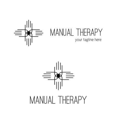 massage symbol: Manual therapy logo design. Chiropractic symbol.