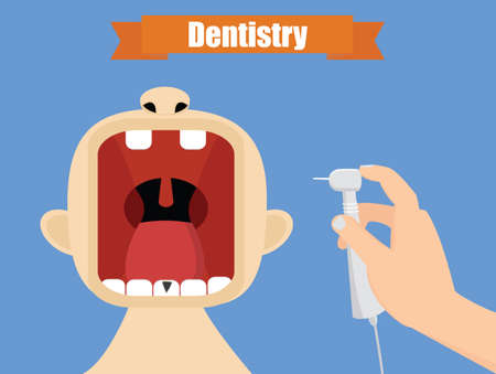 mouth pain: Dentist at work illustration. Oral care concept. Hand with handpiece vector. Illustration