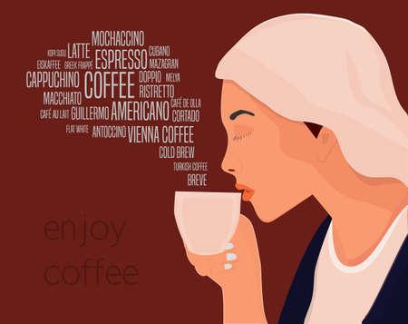 cappucino: Beautiful woman drinks coffee vector illustration. Enjoy coffee drinks conceptual illustration. Illustration