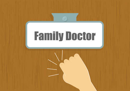 care providers: Hand knocking to doctors door illustration. Family doctor visit concept.
