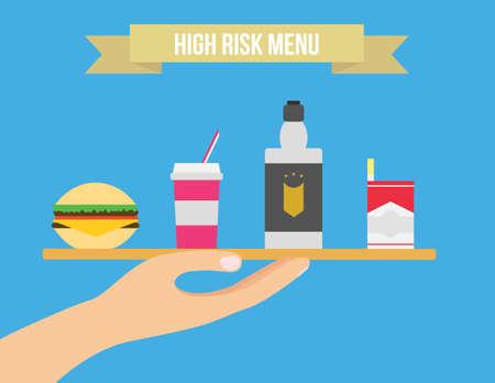 comida chatarra: Insalubres ilustración lifestyle vectorial. Los cigarrillos, alcohol y comida chatarra plana ilustración.