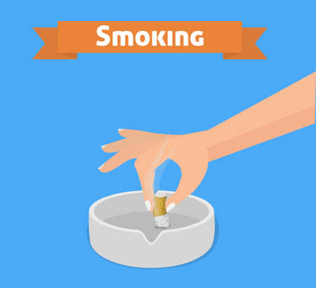 ashtray: Cigarette smoking flat vector illustration. Hand with cigarette butt and ashtray.