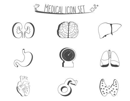 gastroenteritis: Black and white medical and human organs icons. Retro anatomy icons