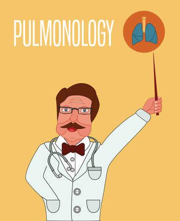explains: Pulmonology conceptual illustration. Doctor explains lung structure.