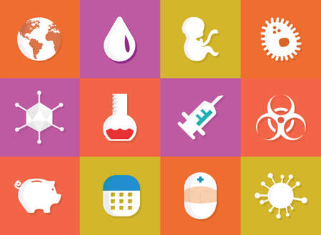 vaccination: Immunization and vaccination medical icons. Epidemiology and infections