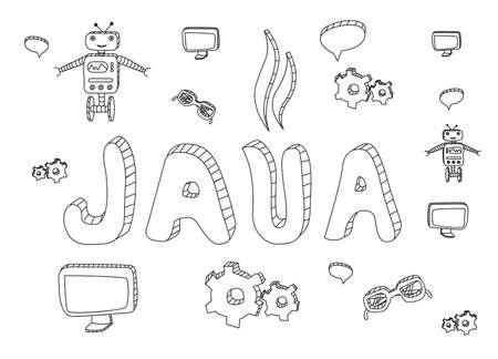 aplication: Java programming hand drawn doodle. Java hand drawn icons.