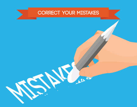 corrections: Correcting mistakes flat vector illustration. Hand with pencil erasing mistakes