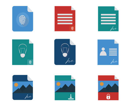patent: Property rights, authorship, patent, personal identity flat icon set