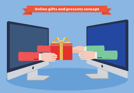 reaching out: Gifts and presents delivery vector illustration. Hands reaching out of computer monitor with a present.