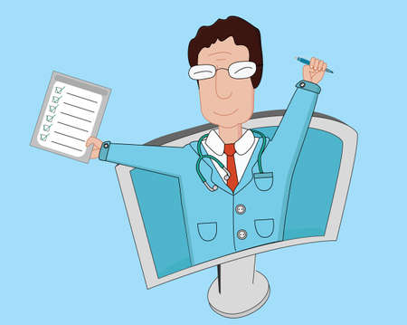 doctor visit: Telemedicine flat line illustration. Smiling male doctor with medical tests and pen is looking out from computer