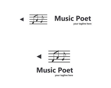 logo music: Music notes logo design. Pencil logotype.