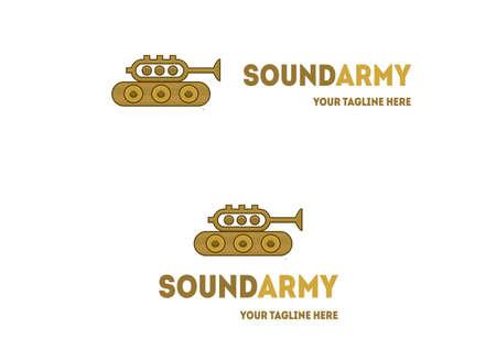 letras musicales: diseño del logotipo del tanque trompeta. Vector de la música logotipo