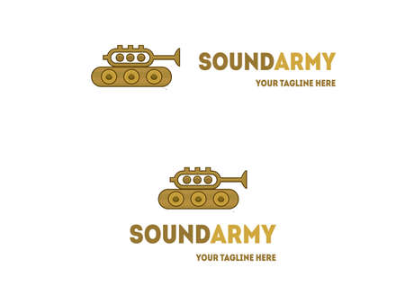 logo music: Trumpet tank logo design. Music vector logotype Illustration