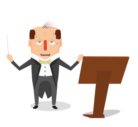 music stand: Orchestra director flat illustration. Tired conductor with sound stand.