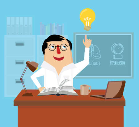 dermatologist: Doctor is reading book at desk in office vector illustration. Physician has an idea concept. Illustration