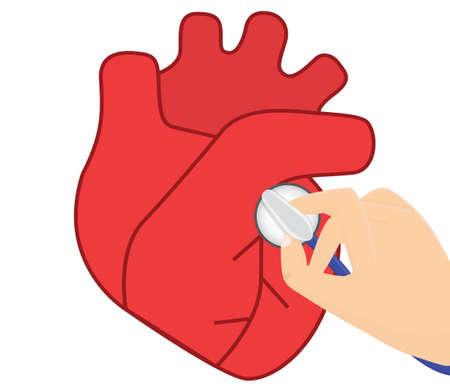 Heart auscultation vector illustration.