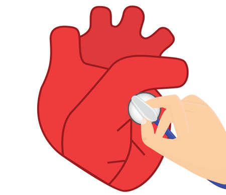 aortic: Heart auscultation vector illustration.