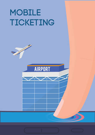 remote access: Mobile ticketing vector illustration. Internet flight tickets buying.