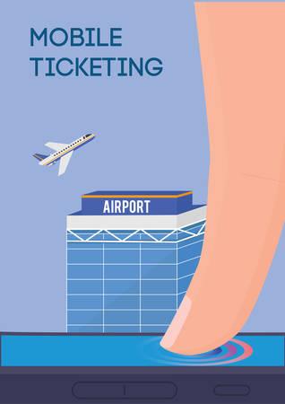 ticketing: Mobile ticketing vector illustration. Internet flight tickets buying.