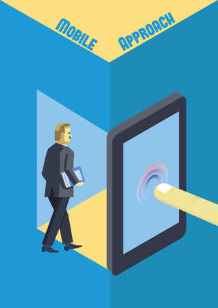 remote access: Mobile technology for business. Mobile approach conceptual illustration.