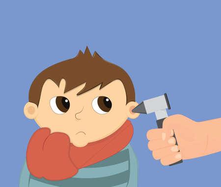 inflamation: Ear examination illustration. Child otoscopy vector.