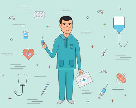 catheter: Doctor and medical services icons flat line illustration Illustration