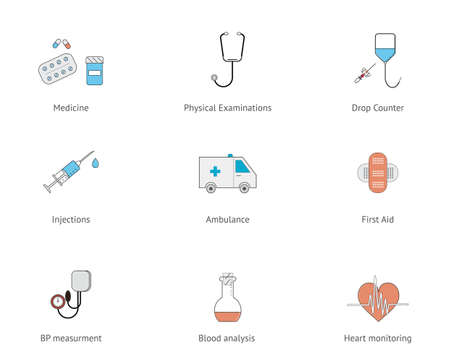 catheter: Flat line medical icon set. Drop counter, sthetoscope, blood pressure measurment, first aid and pills icons Illustration