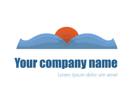 marca libros: Sanset or sunrise logo design. Opened book logotype Vectores