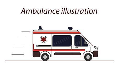Ambulance flat line vector illustration. Detailed illustration of emergency car.