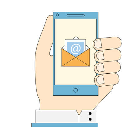 messenger: Hand holding phone with e-mail icon on screen. Mobile messenger flat line illustration