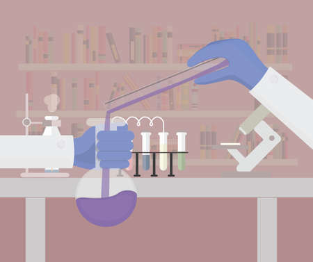 doctor gloves: Scientific research flat illustration. Chemical laboratory illustration.