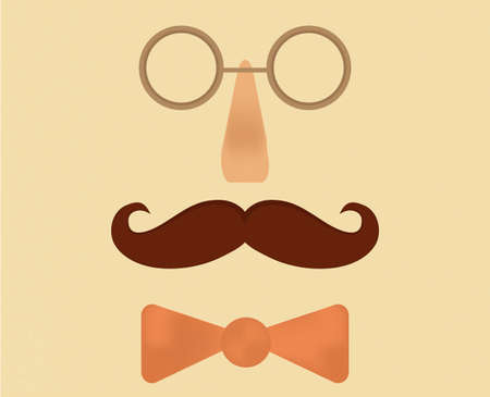 englishman: Gentleman conceptual illustration. Mustaches, glasses and bow tie. Illustration
