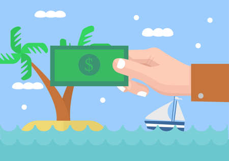 hot tour: Money for vacation illustration. Hand holding money with summer vacation landscape. Illustration