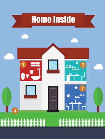 suburban house: Suburban house inside flat illustration Illustration