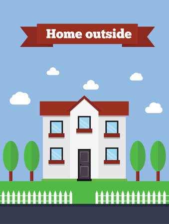 family outside house: Suburban house flat illustration