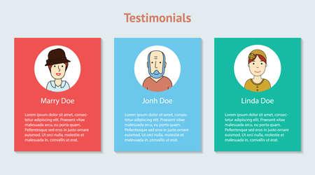 our company: Testimonials vector illustration material design. Web design elements.