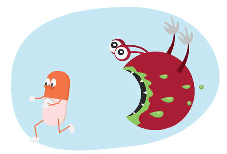 bacteria: Pill running from bacteria. Antibiotic resistance cartoon illustration.