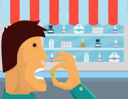 mouth pain: Medical drug consumption  illustration. Man is taking medicine with pharmacy behind him
