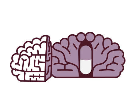 clinical psychology: Pill in brain illustration.Placebo concept.
