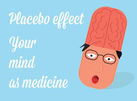 Placebo effet illustration. Médecine à l'esprit.