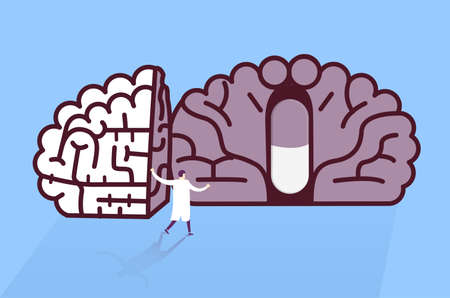 clinical psychology: Doctor found pill in brain. Medical research concept.