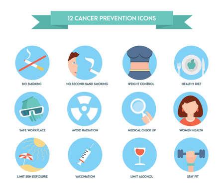 Krebsprävention Symbole. Gesundheitswesen und medizinische Icon-Set. Vektorgrafik