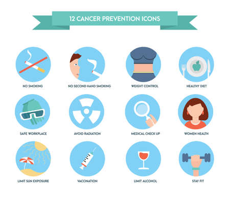 Cancer prevention icons. Healthcare and medical icon set. Illustration