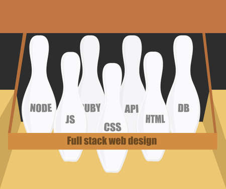 java script: Full stack web development conceptual illustration. Programming languages ??bowling skittles. Illustration