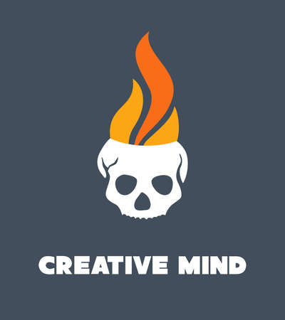 fire skull: Skull with fire flames. Creativity concept. Illustration