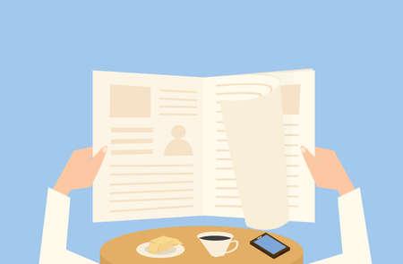 reading magazine: Reading newspaper at breakfast. Hands with magazine flat design. Illustration