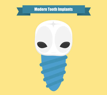 innovative: Modern tooth implant conceptual illustration. Innovative dentistry concept. Alien tooth screw.