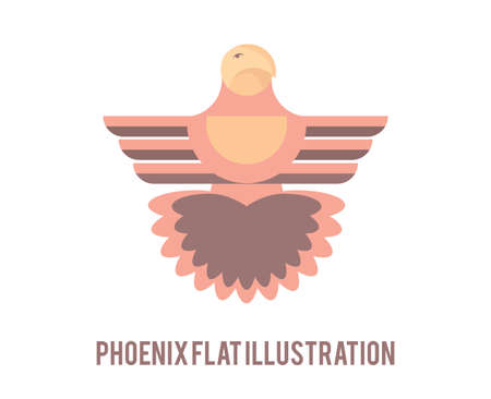 reincarnation: Phoenix flat illustration. Creative bird symbol.