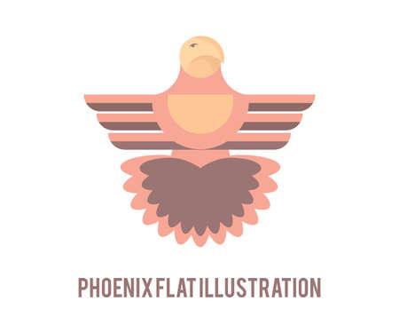 Phoenix flat illustration. Creative bird symbol.