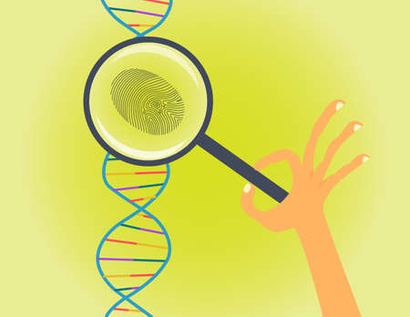 DNA fingerprinting and testing conceptual illustration. Hand with magnifier makes genetic research Zdjęcie Seryjne - 60215011